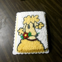 Bruna The Poodle We finished another book - Piper Reed -Navy Brat Cake. They bought a peach colored poodle named Bruna so I made a Bruna cake. It is a white...