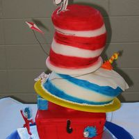 The Cat In The Hat A tribute to Dr. Seuss for the school. The characters were cut from gumpaste and free-hand painted. The fish and the candle are sculpted...