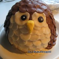 Owl Cake This cake I made with a same method than my easter bird. It's made from marzipan circles. Easy to do with kids.