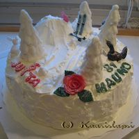 Winter Cake For A Shared Birthday A young girl and senior man had a shared birthday with a winter theme. The cake is covered with a whipped cream. Trees are royal icing.