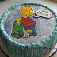 Bart Simpson Cake Painted With Edible Colors On Marzipan Once again I painted a picture on a marzipan. This time it was Bart Simpson.