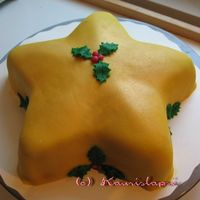 Chrismas Star This cake is covered with a marzipan and so are the decorations.