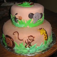 Jungle Baby Shower this cake was done to match the comforter for the nursery. yellow cake with buttercream icing and mmf.