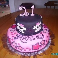 Ashley's 21St Bday this cake was red velvet and chocolate with buttercream and satin ice fondant....lot of fun to make.