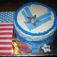 Airforce Cake this cake was fun to make. i messed up on the stars at the bottom....made it red, blue, and white.....instead of red, white, and blue. but...