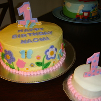 Girl First Birthday   BC icing with fondant accents; painted on fondant for details