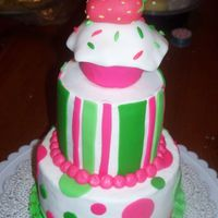Pink/green Cake   BC frosting, fondant dots and stripes, cupcake and strawberry both mmf