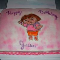 Dora This cake was made for little girl who just loves Dora and the colors pink and purple.