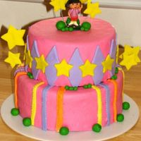 Dora The Explorer 2nd birthday cake.....glad it was a 2 tiered after that whopper 4 tiered I did! Thanks for looking!