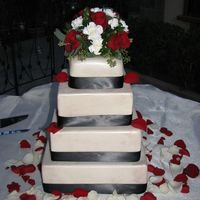Square Wedding Cake Ivory fondant with ivory luster dust