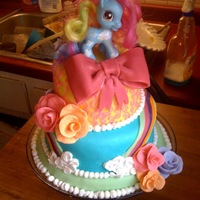 My Little Pony 3 Tiered Birthday Cake My Little Pony 3 Tiered birthday cake with fondant icing. Gum paste roses.