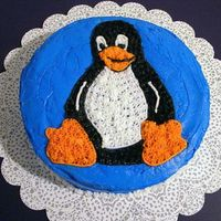 "Penguin ""tux"" Cake This was my first cake made during the Wilton Cake Course I. It's ""tux"" the linux penguin!"
