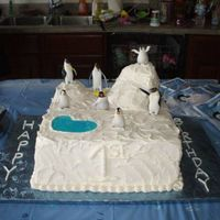 Happy Feet This was the cake for the guests to go along with Mumbles. It was two 12 inch square cakes stacked (one vanilla, one chocolate) and iced in...