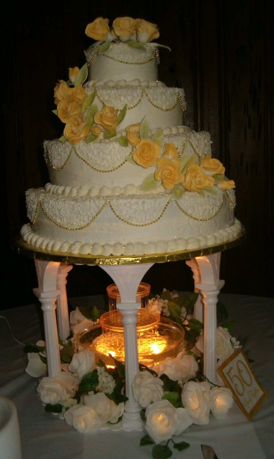50Th Wedding Anniversary Yellow Cake w/Strawberry, Pineapple, Lemon & Cranberry Filling. Gumpaste Roses