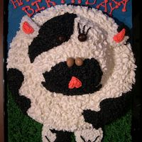 "Happy Birthday Cow Cake This cake was so much fun to do! 10"" round cake for the ""body"" and 6"" round for the ""face"". Halved cupcake..."
