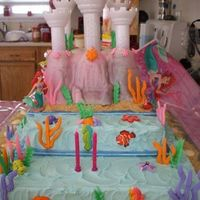 Close Up For Details - Little Mermaid's Castle Just a close up for detail purposes! The sea creatures and coral went all the way around the cake...