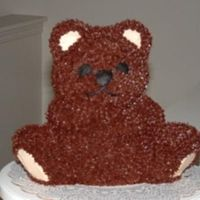 My Very First Bear Cake This was the very first 3D bear cake I had done. Chocolate cake with chocolate buttercream.