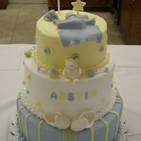 Baby Shower  Buttercream icing with MMF accents. Everything is edible. The baby and the booties were made from gum-tex. The bear, puppy, rattles,...