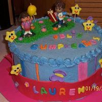 Lauren's Third Birthday   My neice's 3rd bday cake.She LOVES Dora and it was a big hit! I used the Dora and Diego candles and the other decorations were mmf.