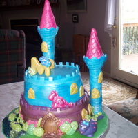 Sissy's Cake ROLLED FONDANT, WILTON CASTLE SET COVERED IN FONDANT, DECORATIONS MADE OF ROLLED FONDANT.