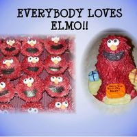 Elmo Mini stand up bear pan used for elmo & cupcakes using grass tip. Airbrushed red... next time I would just colour the icing as the...