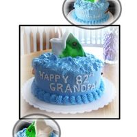 Grampa's Fish   Fondant fish head with WBH BC iced cake for an avid fisherman!!