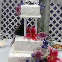 Square Buttercream Wedding Cake With Cornelli Lace