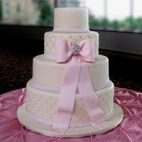 Engagement Cake 4-tier, fondant cake, quilting and fondant bow. www.confectionarydesigns.com