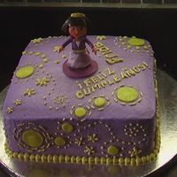 Dora Cake Purple WASC covered in BC, fondant and BC accents. For my daughter's birthday.