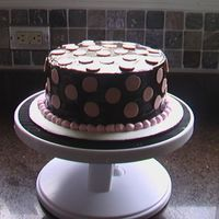 Birthday Cake 8 in. chocolate cake with choc ganache, chocolate polka dots and buttercream border. For a friend's birthday.