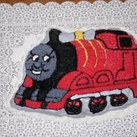 "James The Red Engine I used the ""Thomas the Tank Engine"" pan to make this cake for my son's second birthday. The cake itself is a chocolate cake..."