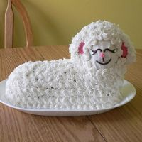"""practice"" Easter Lamb Cake This is my first attempt at the ""Fun-n-Fluffy"" lamb cake. I made it the week before Easter so I'd find out about any quirks..."