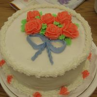 Final Cake For Wilton 1  I had my last class for course 1 last night; here's my cake. I know I need lots of practice. I had so much fun in this class, I can&#...