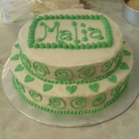 "Baby Shower Cake - Baby Malia 8"" and 10"" WASC with BC icing"