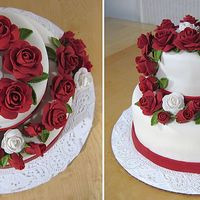 Final Cake Wilton Class Iii I love the look of fondant roses, but they sure take a long time to make. It is a spice cake with peach filling.