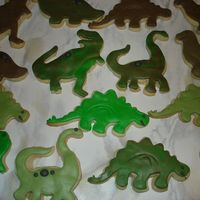 Dinosaur Cookies Fondant with RI eyes, mouths