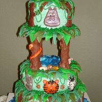 Jungle Birthday Cake I made this for my son's 4th birthday. We put some animal candles on the top for him to blow out. I got ALL these great ideas from...