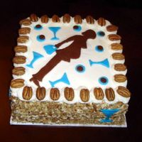 "Bar Themed Baby Shower The mommy-to-be wanted an Italian Cream cake for her ""bar themed"" baby shower. The colors were blue and brown and they were..."
