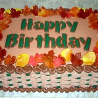 Autumn Birthday This is a red velvet cake I did for the teachers' Autumn birthday celebration. The leaves are fondant and the rest is butter cream. I...