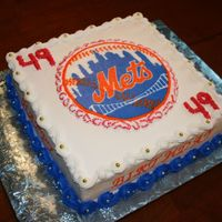 49Th Birthday For A Mets Fan. Home made spice cake with home made blackberry filling. I didn't have my new inks in for my printer so I had to do a FBCT. Haven'...