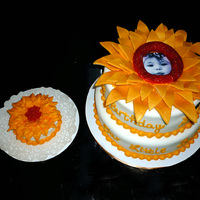 Sunflower Birthday Cake To Match The Invitation All MMF except the smash cake which was buttercream