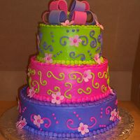 5 Yr Old Birthday Cake The mom found something similar to this on cc, white and choc. cake, her theme was tinker bell