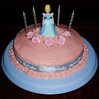 Cinderella Birthday Cake Made for my daughters fourth birthday. Used Cadbury Chocolate cake recipe and frosted with butter icing. Decorated with toy Cinderella that...
