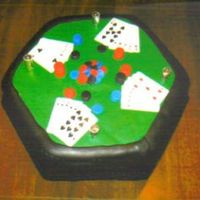 Show Your Full House!  This is the top view of my Poker Table creation!Everything is made with the homemade Marshmallow Fondant recipe I received on Cake Central...