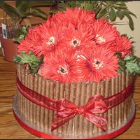 Red Flower Chocolate Cake