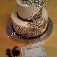 "Sweet 16 This is a sweet 16 birthday cake for a girl having a ""black and white"" party. Everything was black and white and guests were to..."