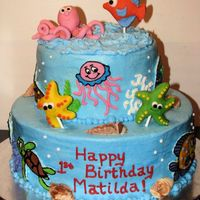 "Aquarium Cake 2-tier cake (8"" and 12"") aquarium with FBCT fish and fondant octopus toppers, fondant starfish and one fondant fish made for a..."