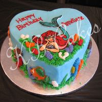 "Mermaid On Blue Heart Background  Little Mermaid FBCT on 2-layer 10"" heart Blue background buttercream cake surrounded by molded chocolate candy creatures on the sides..."