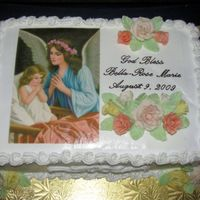 Girl's Baptism Cake   9X13 two layer cake with Edible Image of Guardian Angel and decorated with Gumpaste Roses