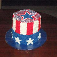 Uncle Sam's Hat 4 layer 8 inch cake. Top half chocolate bottom half white cake. This was a fun cake to do desite the worst humidity ever.